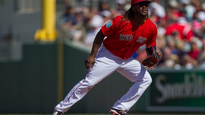 Boston Red Sox first baseman Hanley Ramirez readies for the next play Thursday afternoon (3/10/16) during  their game against the Minnesota Twins.