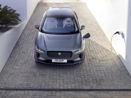 The battery-powered Jaguar I-PACE will have a 240-mile electric range. Its 90 kWh battery can fill up on a 240-volt home charger in just over 10 hours.