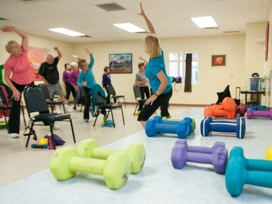 Wellness Workout instructor Sherri Jeska guides her class at MountainView Senior Circle. The one hour workouts are Monday, Wednesday and Friday at 8:30 a.m. The program also has health lectures, monthly meals, movies and other perks for members.