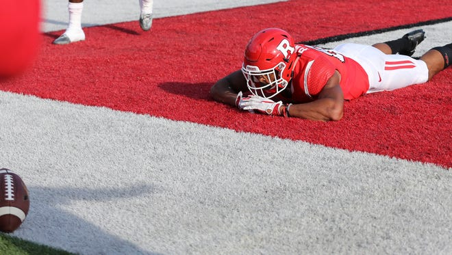 Rutgers wide receiver Andre Patton lies in the end zone after he could not hold on to a pass late in the second half of a NCAA college football game against Indiana Saturday, Nov. 5, 2016, in Piscataway, N.J. Indiana won 33-27. (AP Photo/Mel Evans)
