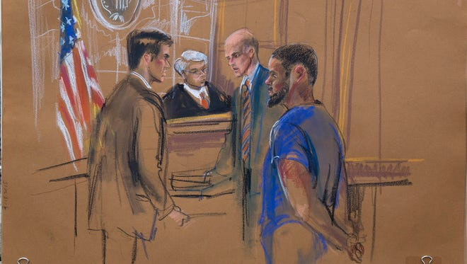 An artist's courtroom sketch shows, from left, Samuel Nitze, assistant U.S. Attorney; U.S. District Judge Nicholas Garaufis; defense attorney Michael Schneider and defendant Tairod Nathan Webster Pugh in Brooklyn federal court on Wednesday, March 18, 2015. Pugh, an Air Force veteran pleaded not guilty to terrorism charges.