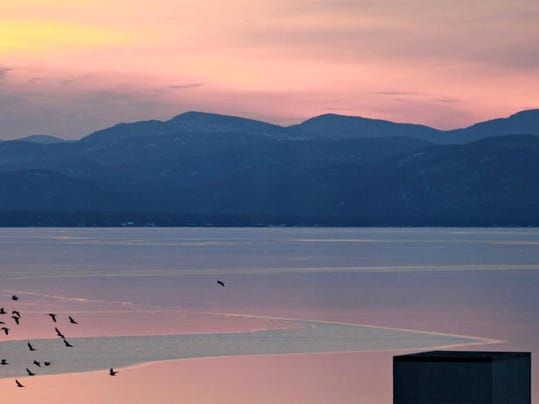 Lake Champlain is largely frozen over, according to the National Weather Service office in South Burlington. The last time the