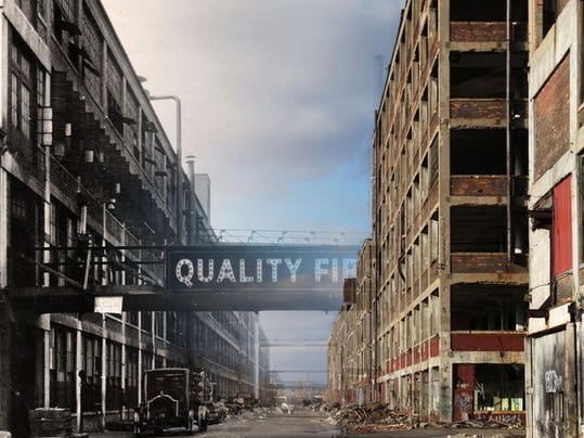 Artist Eric Millikin created this image by fading a photo from the Packard Plant's past into a photo of the