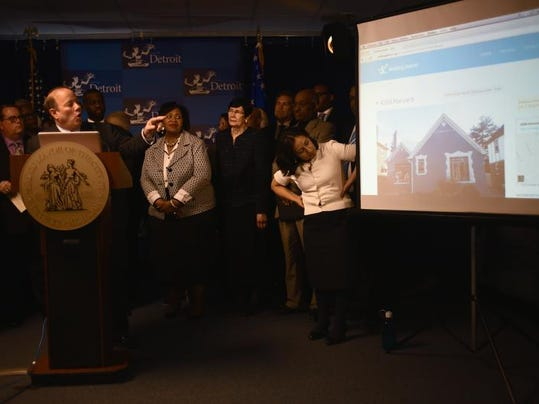 Detroit Mayor Mike Duggan announce the launch of a new website to auction off city-owned homes with good-standing, starting with