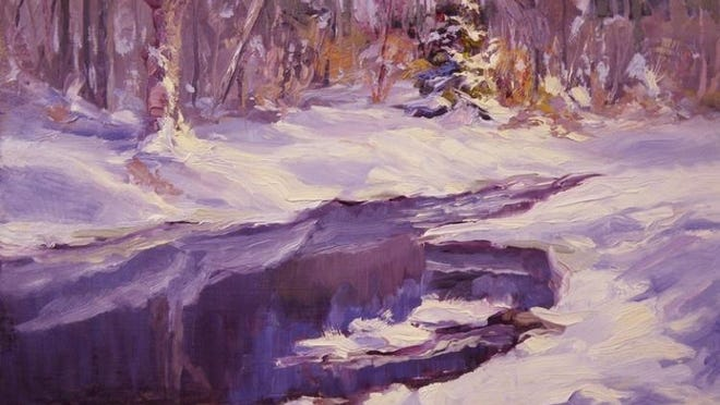 """Rex Stewart's """"Jocko River in Winter"""" is one of the paintings up for auction Saturday, Feb. 6."""
