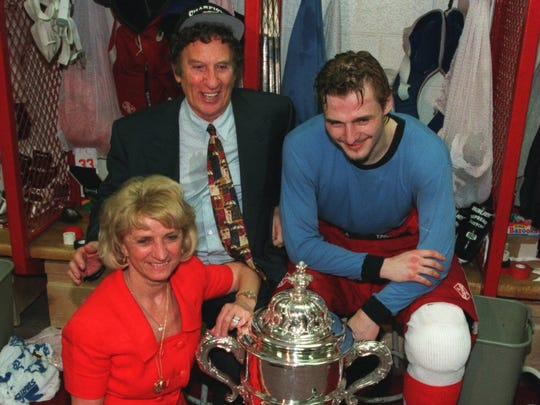 Mike and Marian Ilitch with Sergei Fedorov in the locker