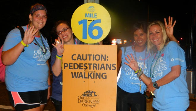 The DREAM Team at mile 16 at the Overnight 2013 in D.C. Pictured are Sara Glavey, Shelley Lloyd, Raela Villanueva and Linda Price.