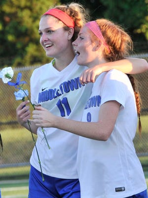 Middletown's Alexandra Rodriguez (left) and teammate Leigh Willis celebrate after they beat Padua 1-0 for the state Division 1 title.  Rodriguez scored the only goal for Middletown.