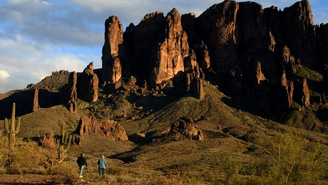 The Superstition Mountains, as seen from Lost Dutchman State Park north of Apache Junction.