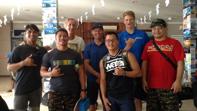 Four representatives of Guahan Napu Inc. recently attended a coaching seminar with symposium officials at the Rip Curl School of Surfing in Legian, Bali. Shown are, from left: Fred Mendiola, Lotus Surf Shop and surf school owner; Carl Delacruz, lifeguard, Morale, Welfare & Recreation, Naval Base Guam; Tim Hain, manager, Asian Surfing Championships; Jamo Borthwick, ISA level 2 instructor/presenter, International Surfing Development associate and symposium keynote speaker/chief coach; Andy Lee, firefighter 1 / EMT, Guam Fire Department search and rescue; Alex Reynolds, membership assistant, International Surfing Association; and John P. Taimanglo, secretary-general, Guahan Napu Inc.Photo courtesy of Guahan Napu Inc.