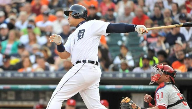 Miguel Cabrera continues his hot hitting, doubling to score Cameron Maybin with the Tigers' first run in the first inning.