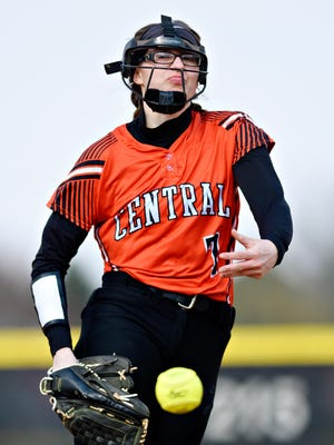 Central York's Courtney Coppersmith pitched a no-hitter Tuesday vs. Warwick. She struck out 17 and walked one. YORK DISPATCH FILE PHOTO