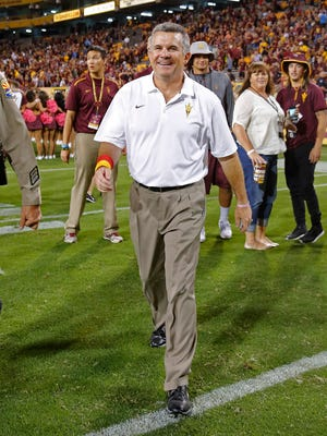 Arizona State head coach Todd Graham walks off the field after defeating Stanford 26-10 during an NCAA college football game, Saturday, Oct. 18, 2014, in Tempe, Ariz.