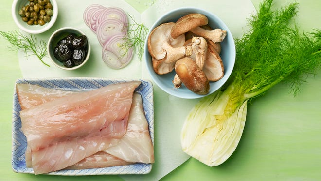"""ingredients used in Fish En Papillote recipe from """"What's a Hostess to Do?"""""""