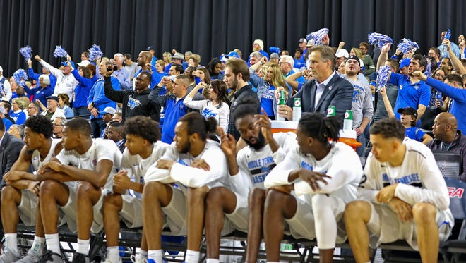 The MTSU basketball team looks on during its game against Southern Miss in the Conference USA quarterfinals at the Ford Center in Frisco, Texas on Thursday.