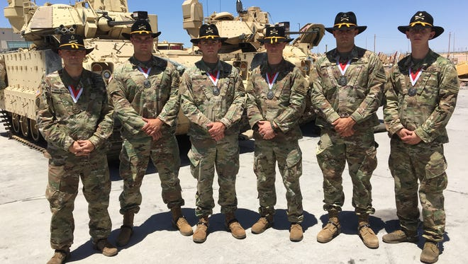 From left, Staff Sgt. Eric Atkinson, Pvt. Jeremy Blevins, Spc. Timothy Wood, Sgt. Zachary Diglio, Sgt. Joseph Main and Spc. Ryan French were the winning Gainey Cup squad from Comanche Troop, 1-1 Cav from Fort Bliss.