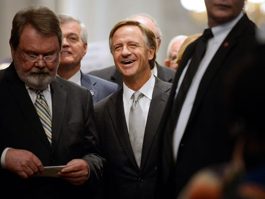Gov. Bill Haslam arrives for the annual State of the