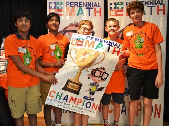 8th grade team Perennial Math Tournament first place winners are, from left, Akash Kumar, Avinash Kumar, David Firestone, Parker McGraw, and Christian Celentano.