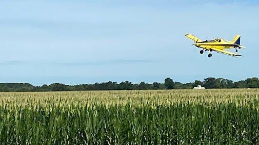 Residents at The Legends subdivision in Lincoln were treated to an air show early Monday morning as crop dusting was done over the Klockenga's crops north east of Lincoln. The plane belongs to Chuck Holzwarth Flying Services stationed at the Logan County Airport.