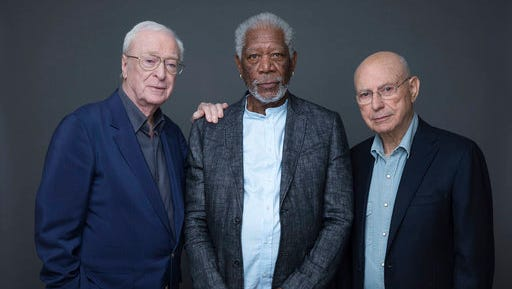 "In this March 27, 2017 photo, actors Michael Caine, Morgan Freeman and Alan Arkin pose for a portrait to promote their new film ""Going in Style"" in New York."