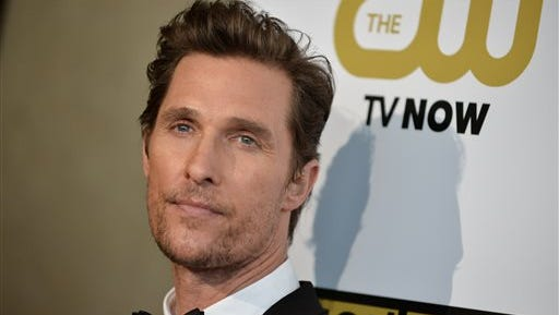 Matthew McConaughey arrives at the Critics' Choice Television Awards at the Beverly Hilton Hotel in Beverly Hills, Calif. Ford's luxury Lincoln brand says the Oscar-winning actor will appear in a series of TV and digital ads featuring Lincoln's new small SUV, the MKC.