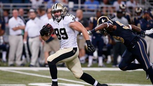 New Orleans Saints tight end Josh Hill (89) plays against the St. Louis Rams in last week's preseason game in St. Louis. A FCC commissioner said Tuesday that he supports repealing the NFL's TV blackout rules.