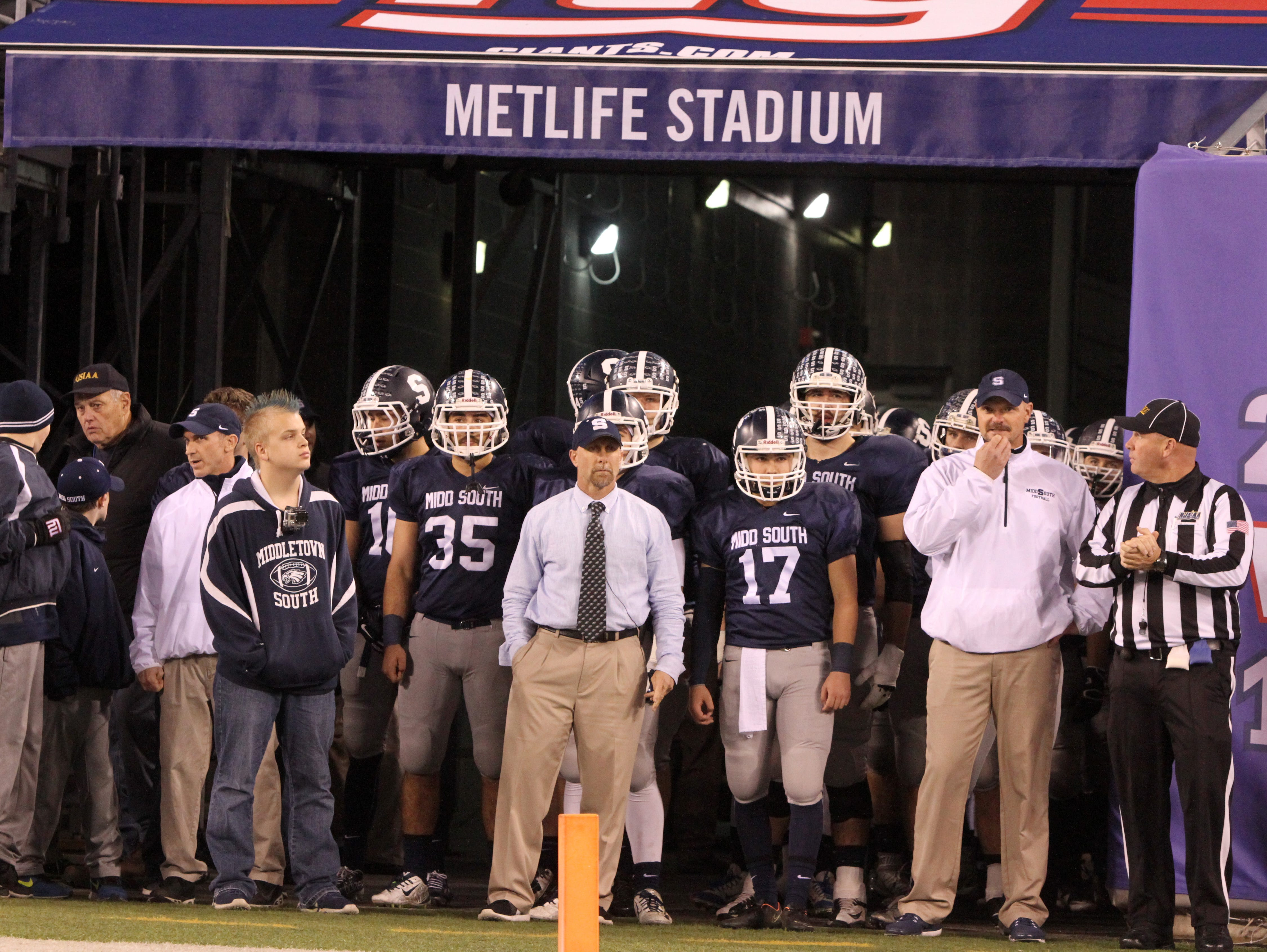 Middletown South High School football prepares to take the field to play against Phillipsburg High School during the North 2 Group IV game of the 2015 NJSIAA/MetLife Stadium High School Football Championships at MetLife Stadium in East Rutherford, NJ Saturday December 5, 2015.