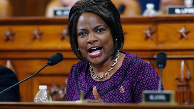 FILE - In this Dec. 11, 2019, file photo, Rep. Val Demings, D-Fla., gives her opening statement during a House Judiciary Committee markup of the articles of impeachment against President Donald Trump on Capitol Hill in Washington. Demings is among the women Joe Biden is considering for his vice presidential running mate.