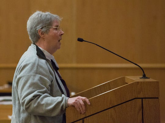 Sister Diana Wauters, of the Assumption Sister of Chaparral, spoke in favor of the proposed resolution opposing the ICE Raids in the County, Tuesday February 28, 2017.