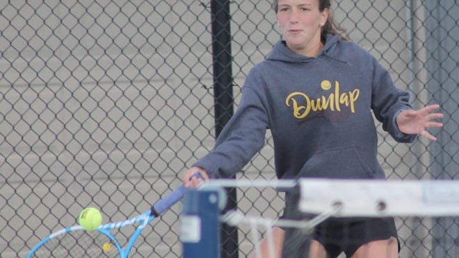 Dunlap girls tennis player Taylor Disharoon competes Friday at the Class 1A Geneseo Sectional. She and five other Eagles moved on to Saturday's semifinals.