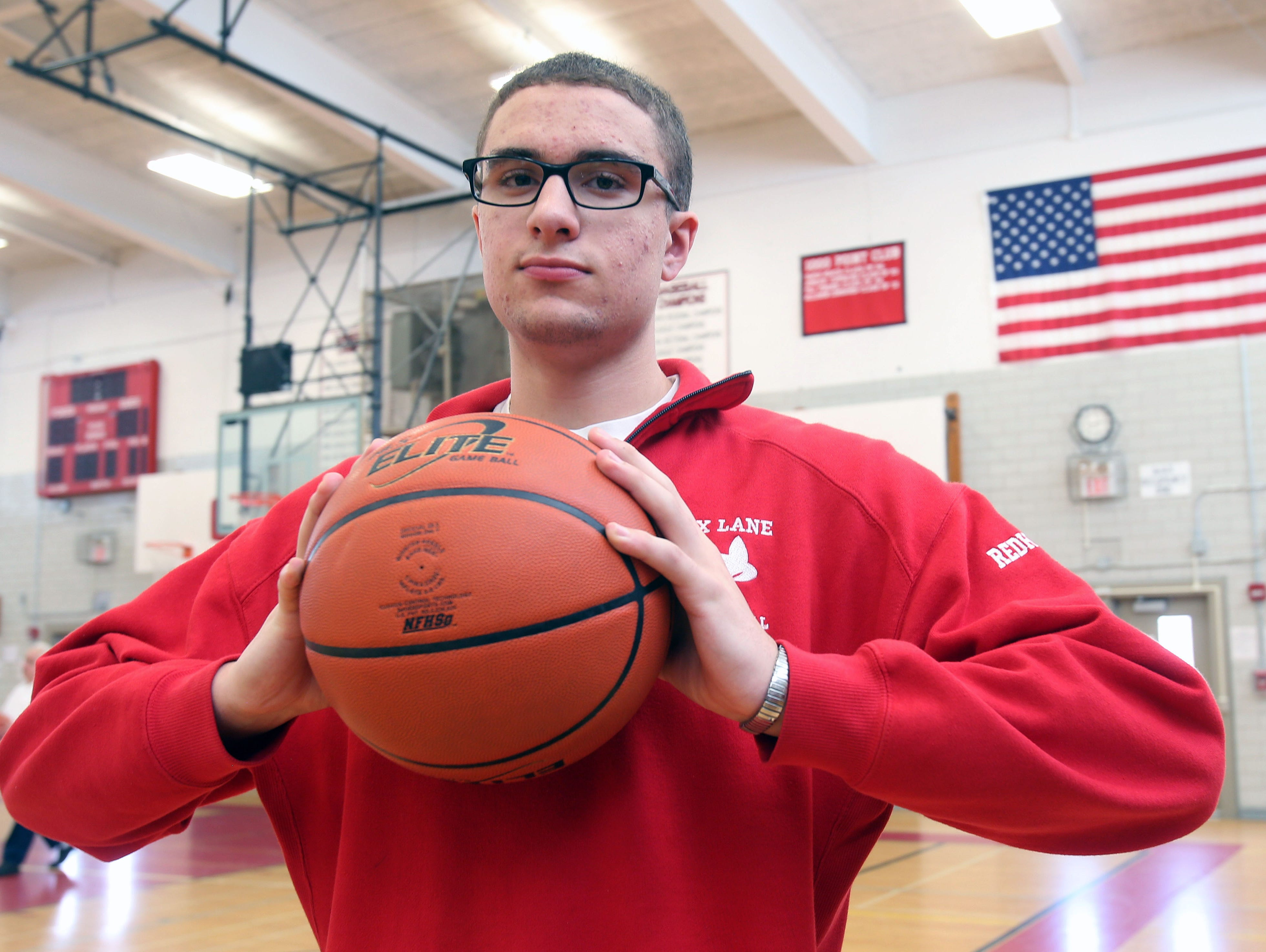 Fox Lane senior Matt Redhead is the Westchester/Putnam boys basketball player of the year, he is photographed in the gym at Fox Lane High School in Bedford April 6, 2016.