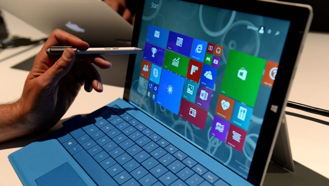 The new Microsoft Surface Pro 3 tablet with detachable keyboard and pen for writing on the screen after it was unveiled in New York.