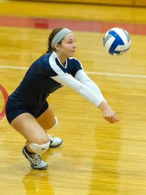 DeSales sophomore Gabby Savite, a West Morris alumna, digs a ball in a match against Wilkes on Oct. 12.