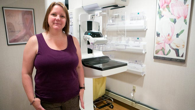 Stephanie Saris of Stevens Point stands in the mammography room at Ministry Saint Michael's Hospital in Stevens Point on Tuesday, May 26, 2015.