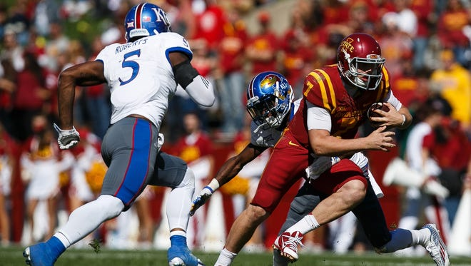 Iowa State's Joel Lanning runs during their game against Kansas at Jack Trice Stadium in Ames on Saturday, October 3, 2015.