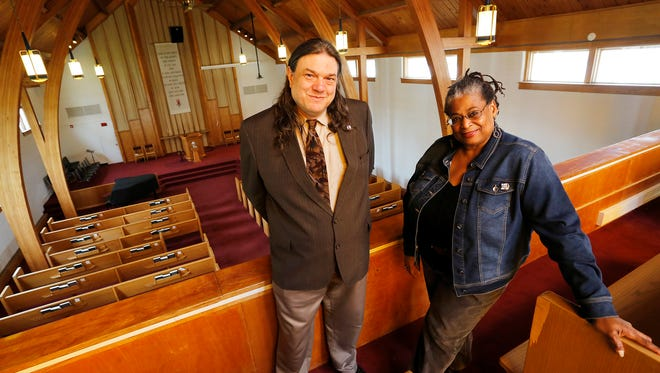 Rev. Charlie Davis and his wife Gail in the sanctuary Wednesday, March 30, 2016, at Unitarian Universalist Church of Tippecanoe County, 333 Meridian Street in West Lafayette. The Unitarian Universalist Church will host a Black Lives Matter open hose Monday, April 4. Both said that, of course, all lives matter, but this event will focus on black lives.