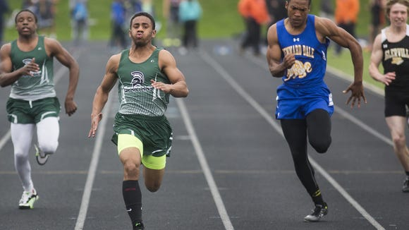 From left, York Tech's Tyrese Smallwood, York Tech's Bry'quan Sweeney, Kennard-Dale's Donnell Williams and Biglerville's Cory Dittmar compete in heat 4 of the boys' 100-meter dash. Athletes compete at the Dallastown Track and Field Invitational at Dallastown Area High School April 29, 2016.