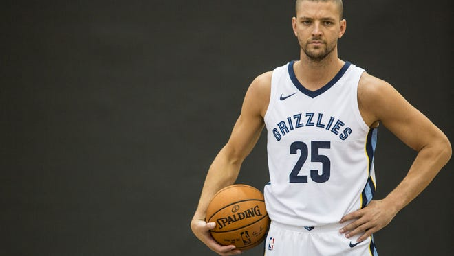 Chandler Parsons poses for a picture during the Grizzlies' media day Sept. 25, 2017, at FedExForum.