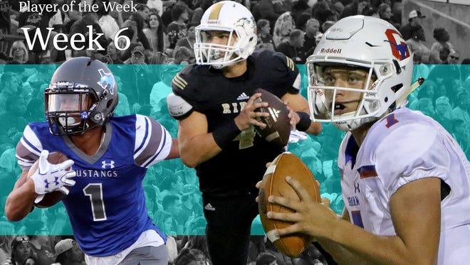 TRN Week 6 Player of the Week Illustration. The Week 6 nominees are City View wide receiver Jayln Marks, Rider quarterback Jorge Vargas, Graham quarterback Tucker Horn and Throckmorton running back Jarrett Wiggington (not pictured).