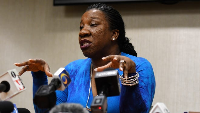 Tarana Burke, founder of the #MeToo movement and civil rights activist, speaks to the media before her event on Thursday, April 19, 2018, at the Wharton Center for Performing Arts in East Lansing.