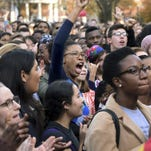 Arnold Gold/New Haven Register via APStudents and faculty rally Nov.9 in New Haven, Conn., to demand that Yale University become more inclusive to students, one of the campus debates about race and other issues. FILE - In this Nov. 9, 2015, file photo, Yale University students and faculty rally to demand that Yale become more inclusive to all students on Cross Campus in New Haven, Conn. As debates about race and other social issues flare on campuses, college presidents in recent weeks have taken steps to assert the importance of the free expression of ideas. (Arnold Gold/New Haven Register via AP, File) MANDATORY CREDIT