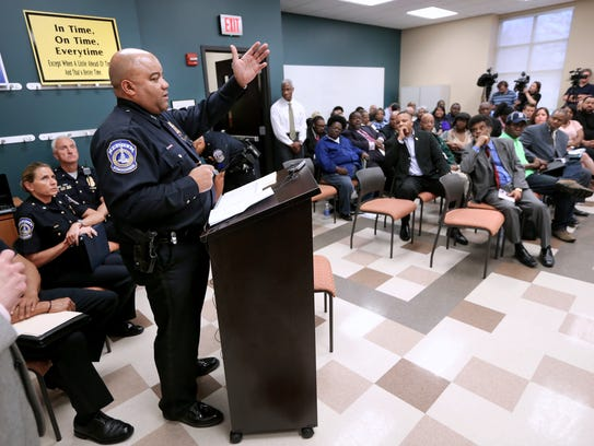 Indianapolis Police Chief Rick Hite speaks during a public meeting at the Center for Leadership and Development in Indianapolis on Tuesday, April 29, 2014 to discuss a proposal to tighten the curfew law. The ordinance would move curfew up two hours, to 11p.m., on Friday and Saturday nights, for 15- to 17-year-olds. Teens of that age are currently allowed to stay out until 1 a.m. on Saturday and Sunday mornings but have an 11 p.m. curfew the rest of the week. at the Center for Leadership and Development in Indianapolis on Tuesday, April 29, 2014.