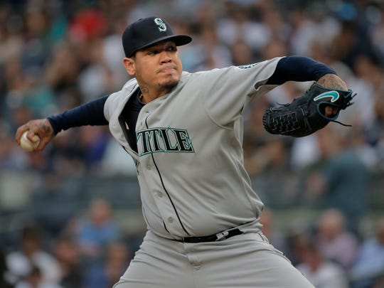 Seattle Mariners starting pitcher Felix Hernandez throws during the first inning of a baseball game against the New York Yankees at Yankee Stadium Wednesday, June 20, 2018, in New York.