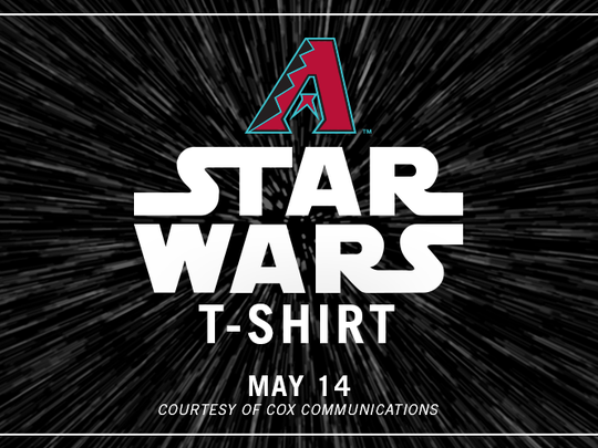 """A specialty T-shirt will be the giveaway for the Diamondbacks' """"Star Wars"""" night."""
