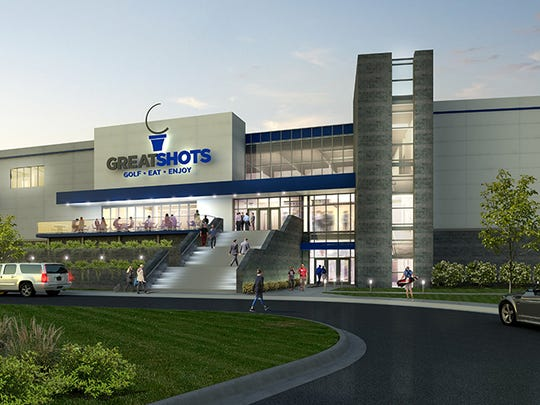 A rendering of Great Shots golf entertainment facility