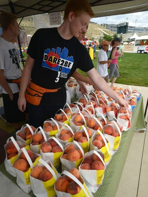 Volunteer Matt Laine arranges bags of peaches from Tate Orchards in Palisade, during the Peach Festival at Hughes Stadium in 2013. The four Rotary Clubs in Fort Collins and CSU put on the annual festival.