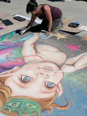 """Princess of Atlantis"" by Lysa Ashley of Upland was a star during last year's Ventura Art and Street Painting Festival at Ventura Harbor Village. This year's event is Saturday and Sunday."