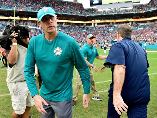 Dec 9, 2018; Miami Gardens, FL, USA; New England Patriots head coach Bill Belichick (right) greets Miami Dolphins head coach Adam Gase (left) after the Dolphins defeated the New England Patriots at Hard Rock Stadium. Mandatory Credit: Steve Mitchell-USA TODAY Sports