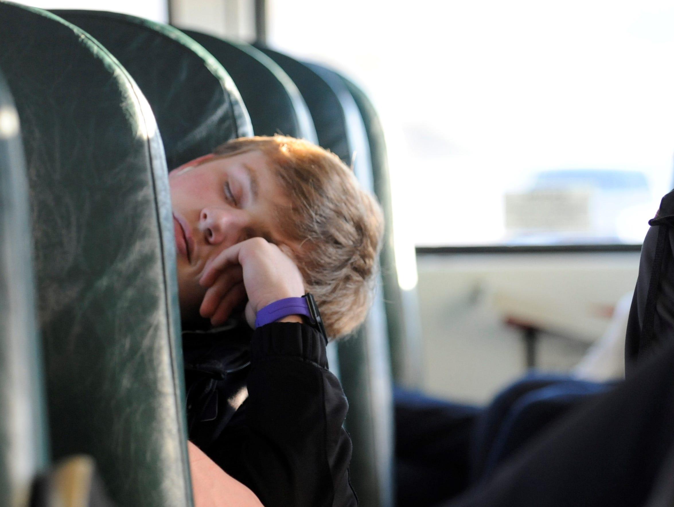 Unioto's Gunnar Greenwalt takes a short nap during