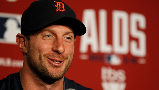 Detroit Tigers pitcher Max Scherzer answers a question during his news conference in Baltimore on Oct. 1, 2014.